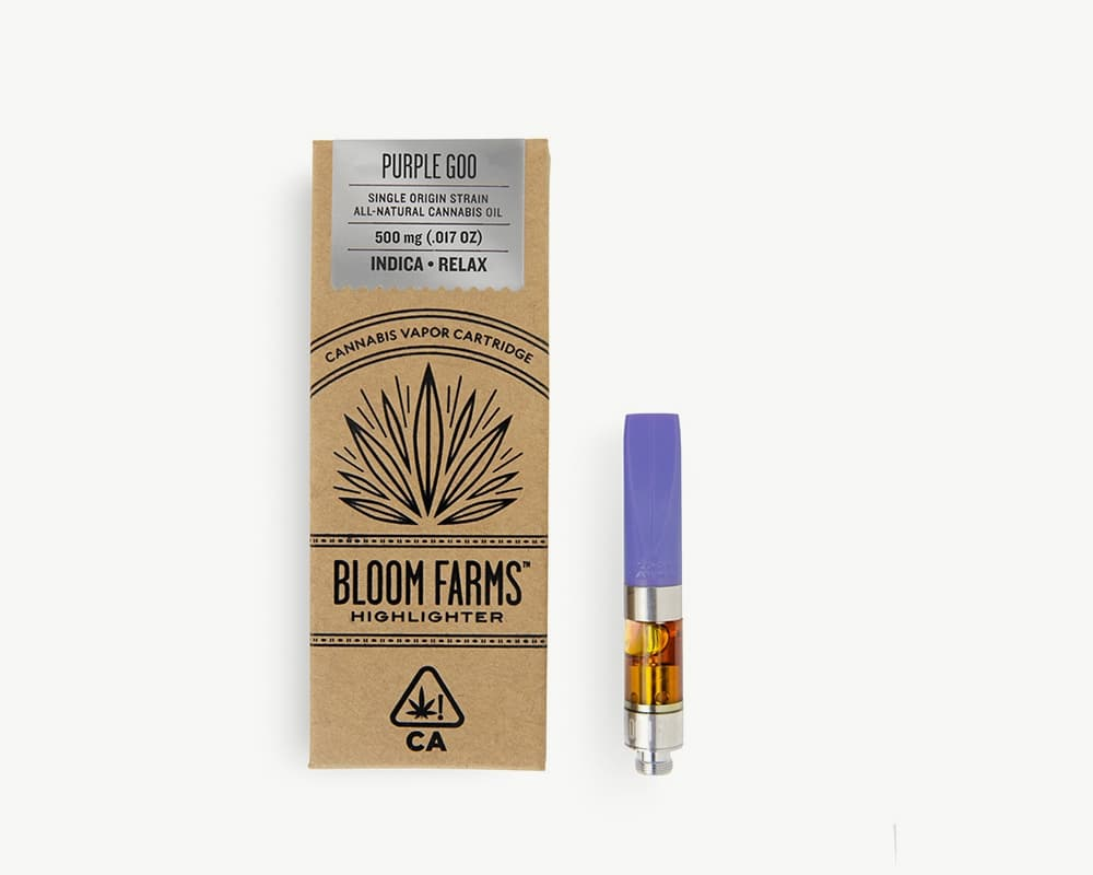 Purple Goo C-cell cart Indica Strain by Bloom Farms | Splitbud Deals